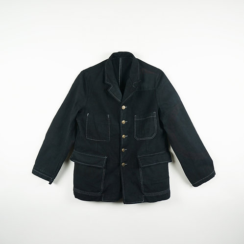 "Luddite ""Oath of Worker"" Patched Cotton Worker Jacket (Black)"