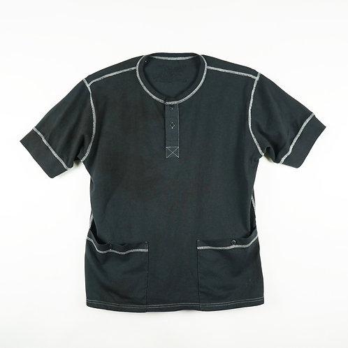 Luddite Original Side-Pocket Cotton Henley Tee - Black