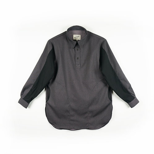 """Luddite """"Oath of Worker"""" Patched Cotton Worker Long Shirt"""