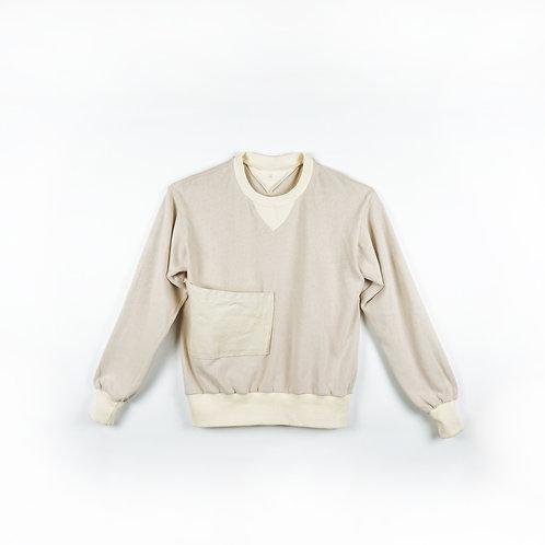 Luddite Original Cotton Side Pocket Worker Sweater - Natural Cotton