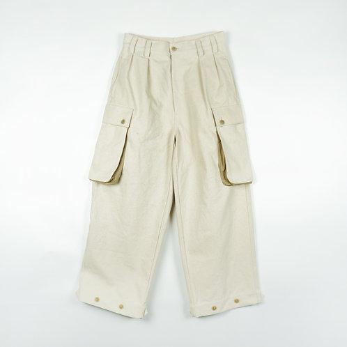 Luddite Original Army Fatigue Pants White ( High Waist Loose Cut)