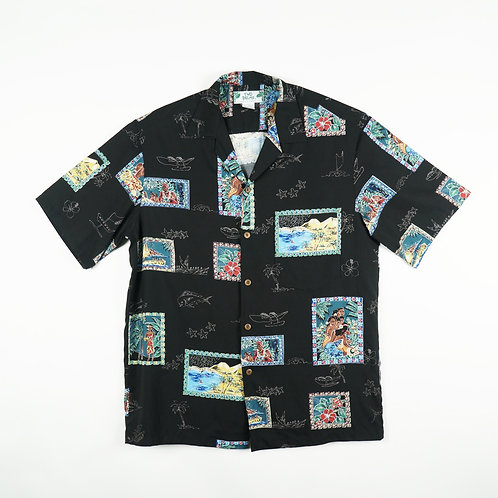 Two Palms Aloha Shirt - Postcards Black