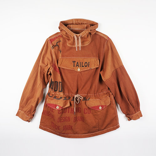 """Luddite """"Oath of Worker"""" Patched Cotton Mountain Smock (RUST)"""