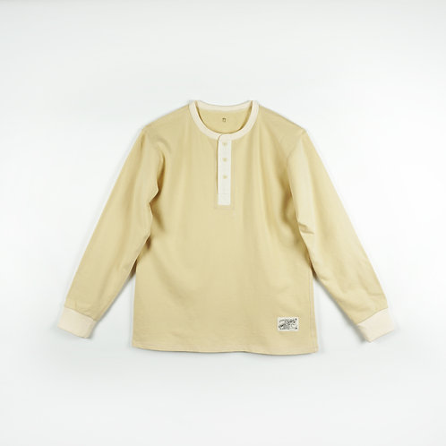 Luddite Original Worker Long Sleeves Henley Tee - Natural Cotton