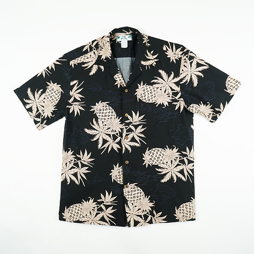 Two Palms Aloha Shirt - Pineapple Map Black