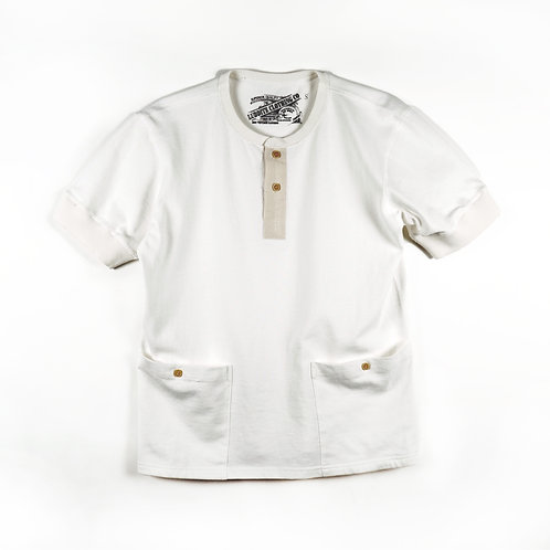 Luddite Original Side-Pocket Cotton Henley Tee - White