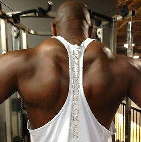 black guy working out back muscles