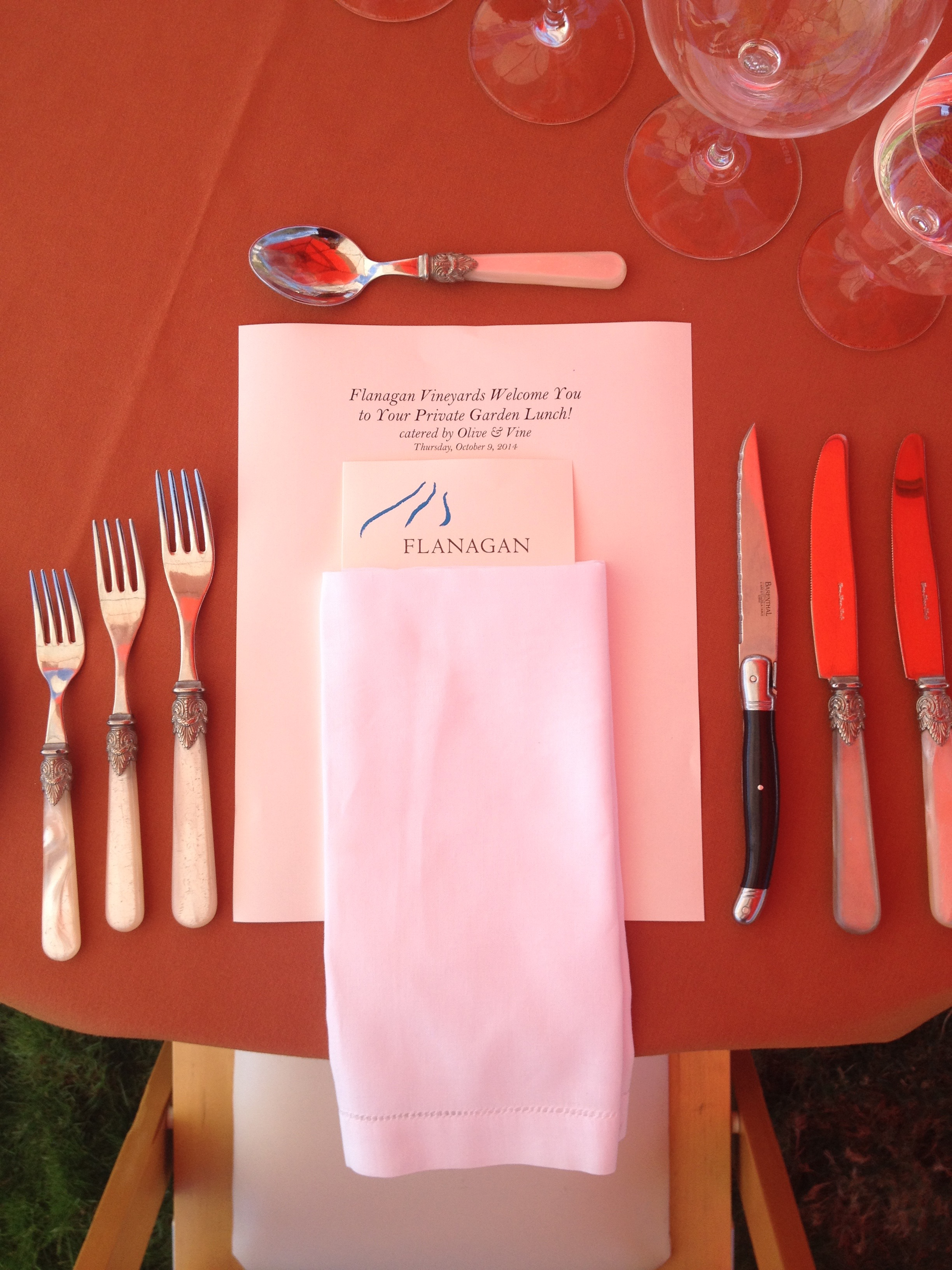 Flanagan Winery Place Setting Menus