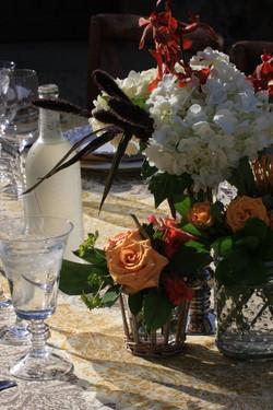 Wedding flowers on dinner tables