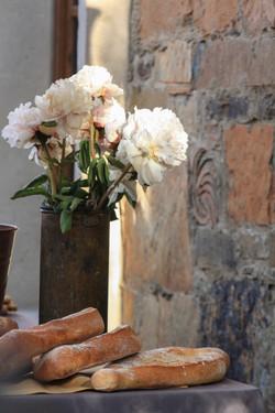 Flowers in weathered galvanized vase