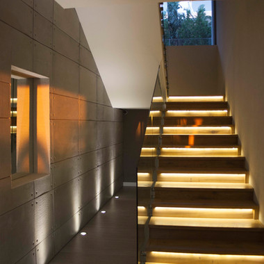 led staircases textured walls