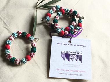 Bracelet de Noël : Taille unique, élastique, perles en coton