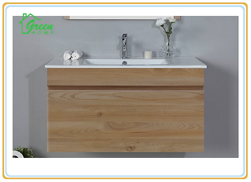 Wall-hung vanity with ceramic basin w750/900/1200 mm white oak