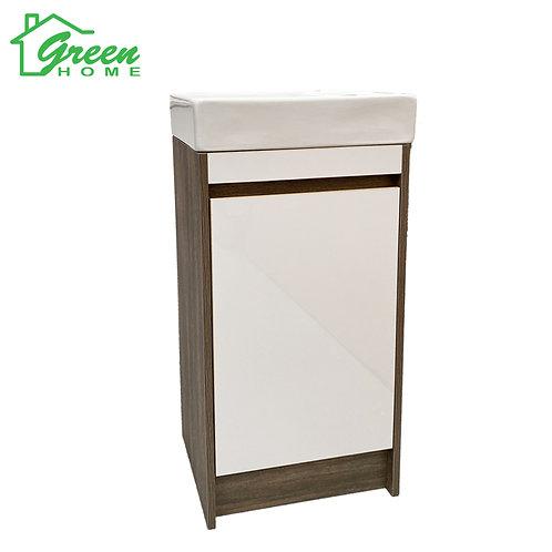 Plywood Floor Standing Vanity 400 -Light Brown& Glossy White