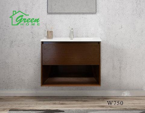 GHLYG - Wall-hung Plywood Vanity With Ceramic Basin 750 -Dark Walnut