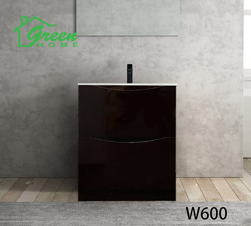 Double Drawers Floor Standing Vanity 600 -Dark Brown