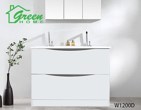 Double Drawers Floor Standing Vanity 1200D - Double Basin - White