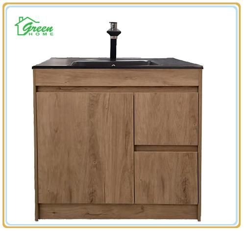Floor standing vanity with black basin 750/900/1200mm White Oak/Marble Grey