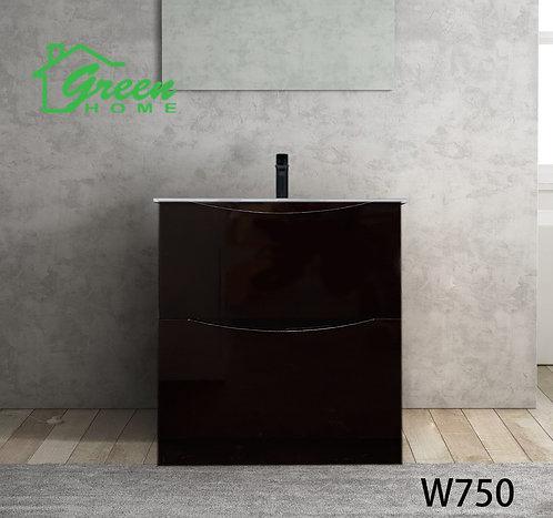 Double Drawers Floor Standing Vanity 750 -Dark Brown