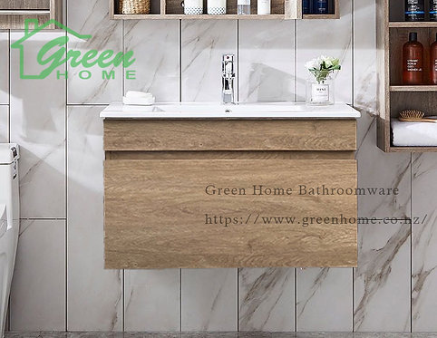 Wall-hung vanity with ceramic basin 750/900/1200 mm White Oak