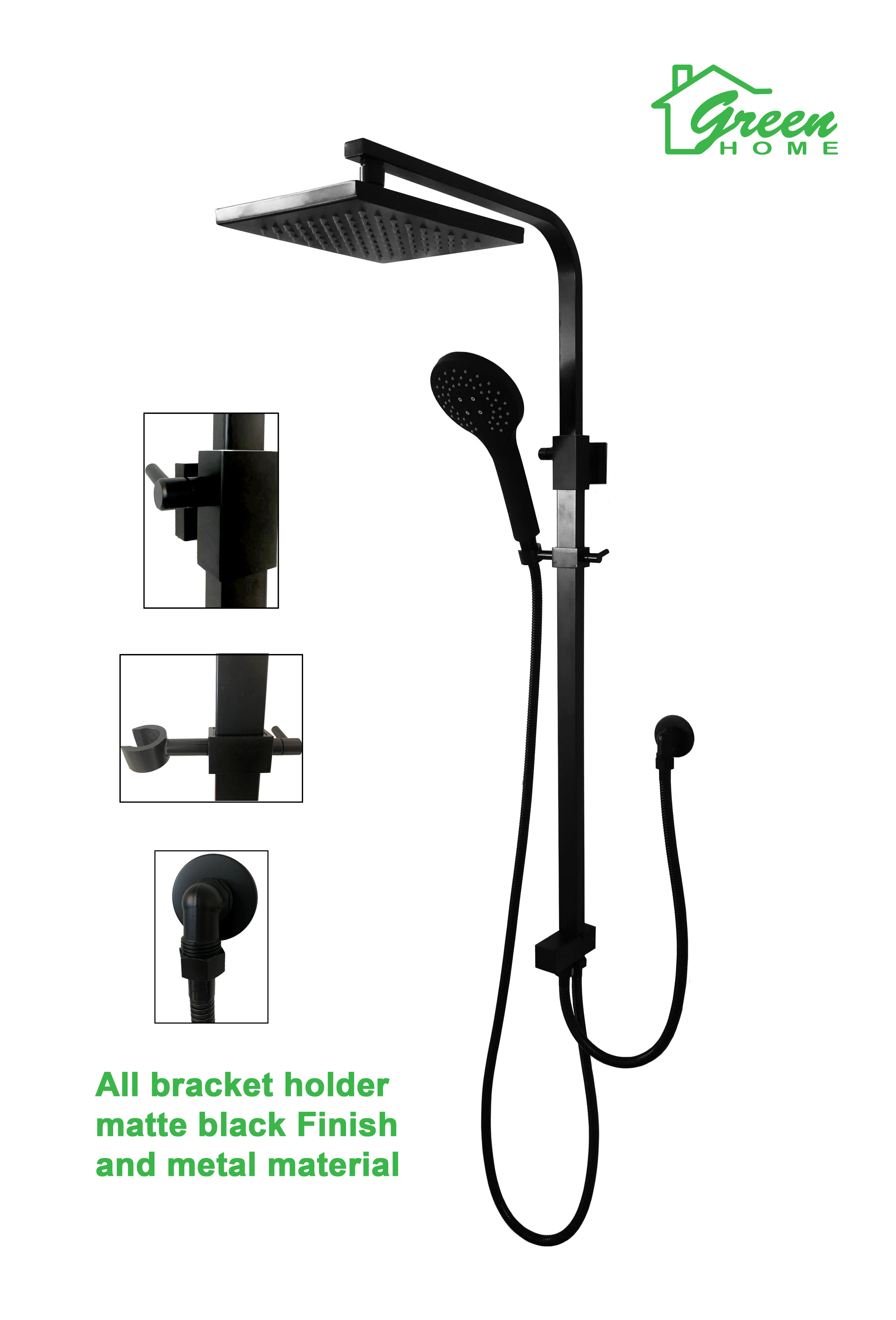 Rain Shower Set Matte Black Shower Slider