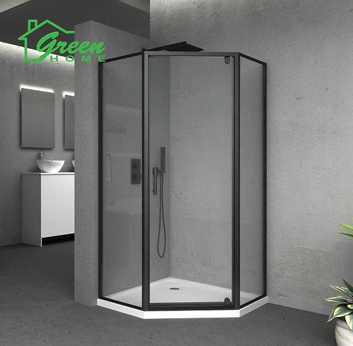 Black Frame Shower Glass Only - Diamond- Green Home