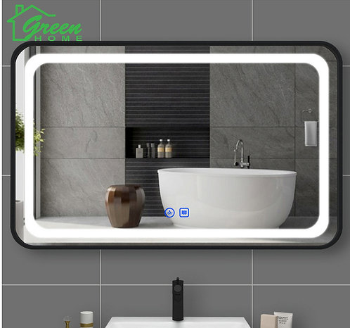 Black Aluminum Frame LED Mirror With Demister W600/ 750/ 900/ 1200/ 1500
