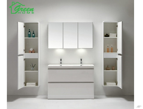 White Vanity 1200 Double Basin Wall-Hung