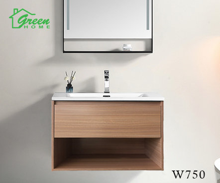 GHLYG - Wall-hung Plywood Vanity With Ceramic Basin 750 - Light Oak Color
