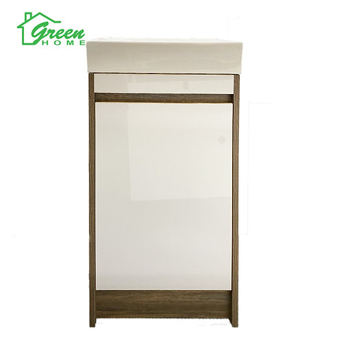 Plywood Floor Standing Vanity GHJK-400 -Light Brown& Glossy White- GreenHome