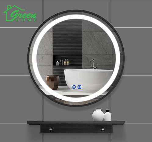 Black Aluminum Frame Round LED Mirror With Demister- Diameter 600/ 700/ 800/ 900