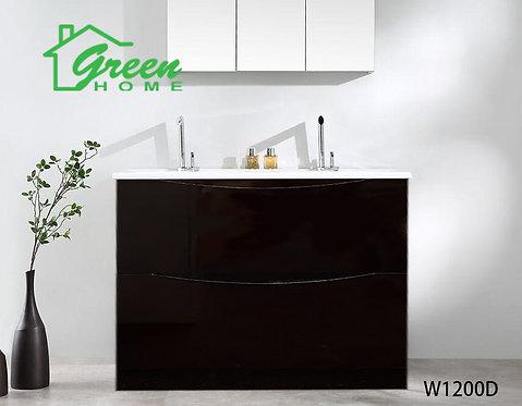 Double Drawers Floor Standing Vanity 1200D - Double Basin -Dark Brown