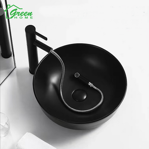 Round Countertop Ceramic Basin-Black