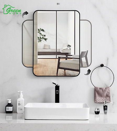 Mirror With Black Aluminum Frame L600/ 750/ 800/ 900/ 1200/ 1500mm