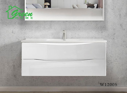 Double Drawers Wall-hung Vanity 1200S - Single Basin - White