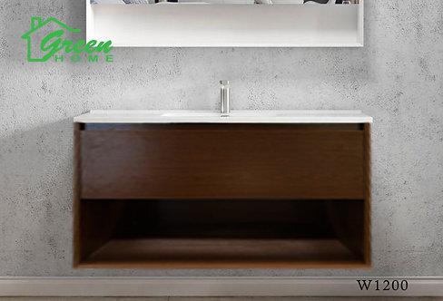 GHLYG - Wall-hung Plywood Vanity With Ceramic Basin 1200S -Dark Walnut
