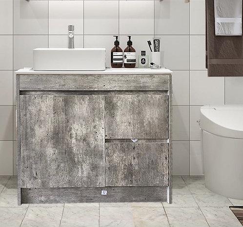 Floor standing vanity with countertop basin 750/900/1200mm White Oak/Marble Grey