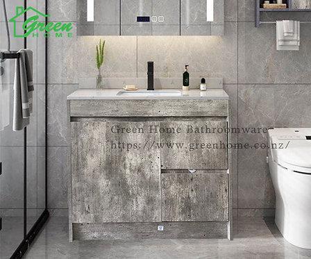 Floor standing vanity with ceramic basin 750/900/1200mm White Oak/Marble Grey
