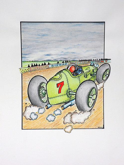 Achteraanzicht van een groene ludieke oude racewagen.