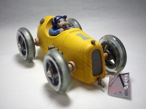 Gele beer racewagen Woodie