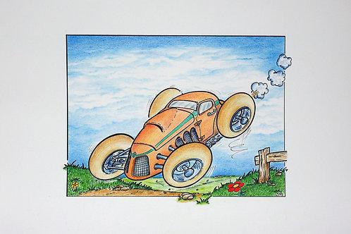 Een racende oranje sportwagen