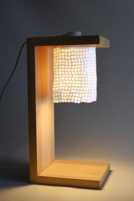 Lampe de Table, Bois & Porcelaine