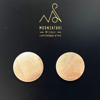 Boucles d'oreilles cuivre végétal rondes