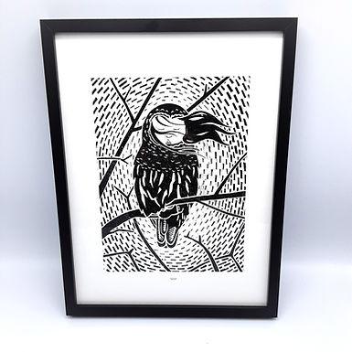 Cadre A3 repro (gravure noir et blanc)