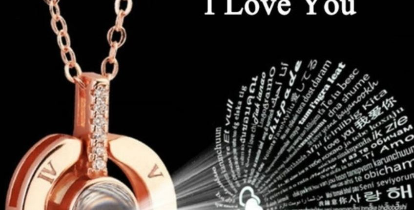 """""""I Love You"""" Projection Charm Necklace"""