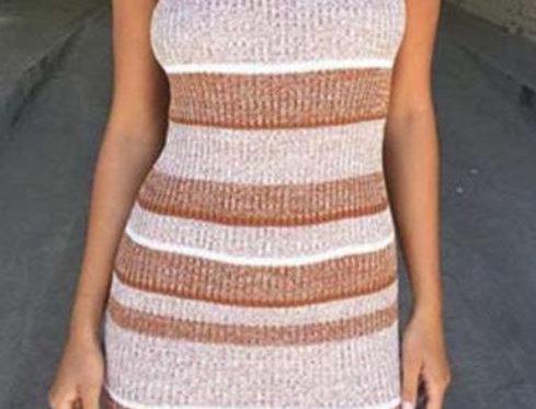 High Collar Knitted Dress