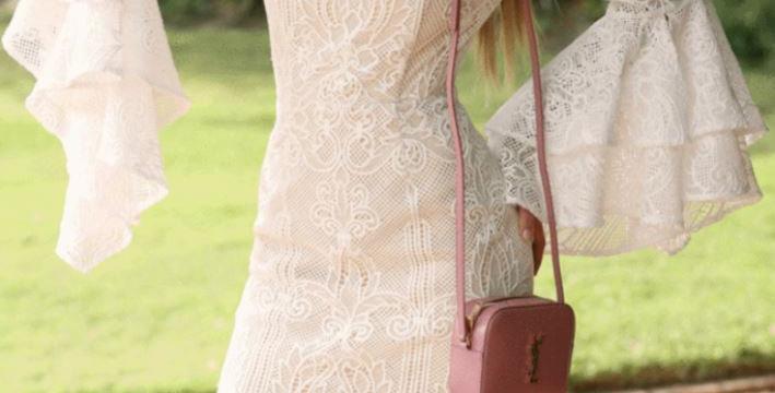 Form Fitting Beige Dress