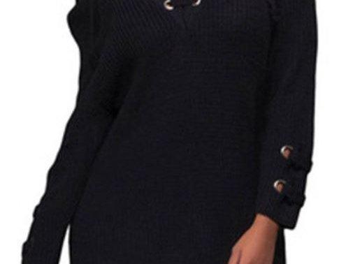 Grommet Front Sweater