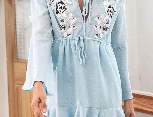 Blue Ruffled Chiffon Dress