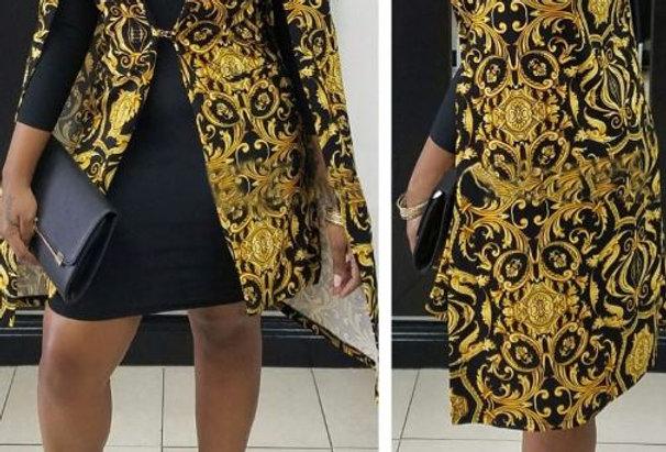 Gold Print Cloak Jacket